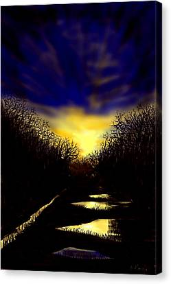 Sunset Over Disused Railway Tracks Canvas Print
