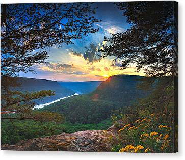 Sunset Over Edwards Point Canvas Print by Steven Llorca