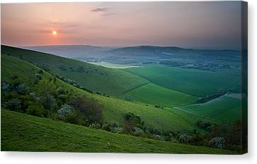 Sunset Over English Countryside Escarpment Landscape Canvas Print by Matthew Gibson