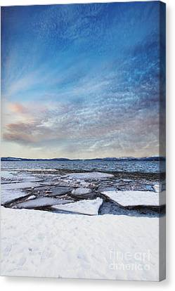 Sunset Over Frozen Lake Canvas Print