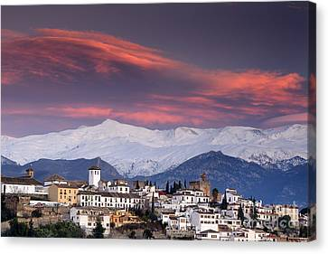 Tourism Canvas Print - Sunset Over Granada And The Alhambra Castle by Guido Montanes Castillo