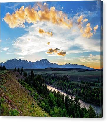 Sunset Over Grand Teton National Park Canvas Print by Babak Tafreshi