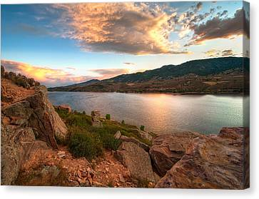 Sunset Over Horsetooth Canvas Print by Preston Broadfoot