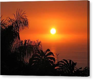 Sunset Over Kona Hawaii Canvas Print by Sabine Edrissi