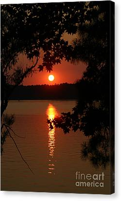 Sunset Over Lake Canvas Print by D Wallace
