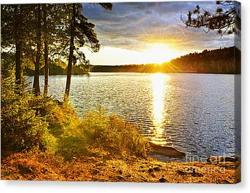 Sunset Over Lake Canvas Print by Elena Elisseeva