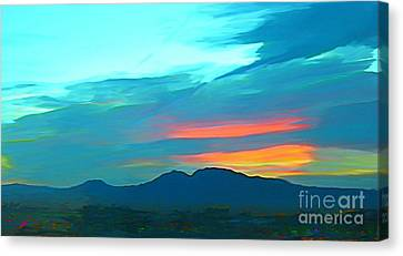 Sunset Over Las Vegas Hills Canvas Print by John Malone