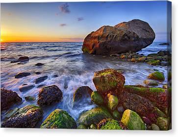 Sunset Over Long Island Sound Canvas Print by Rick Berk