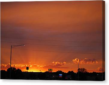 Canvas Print featuring the photograph Sunset Over Madison by Ramona Whiteaker