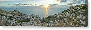 Sunset Over Mediterranean Sea, Dingli Canvas Print by Panoramic Images