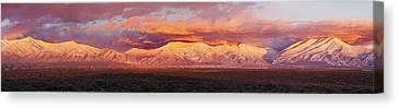 Sunset Over Mountain Range, Sangre De Canvas Print