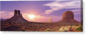 Sunset Over Mountain Valley Canvas Print by Aged Pixel