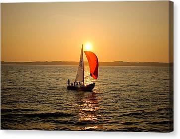 Sunset Over Narragansett Bay Canvas Print by Allan Millora