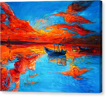 Sunset Over Ocean Canvas Print by Ivailo Nikolov