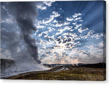 Sunset Over Old Faithful - Horizontal Canvas Print by Andres Leon