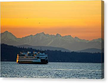 Pacific Northwest Ferry Canvas Print - Sunset Over Olympic Mountains by Dan Mihai