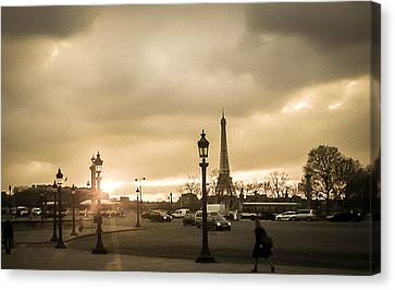 Sunset Over Paris Canvas Print by Steven  Taylor