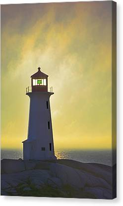 Sunset Over Peggys Cove Lighthouse Canvas Print by Thomas Kitchin & Victoria Hurst