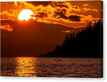Sunset Over Point Atkinson Lighthouse Canvas Print