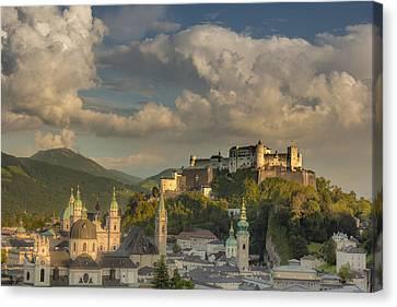 Sunset Over Salzburg Canvas Print by Chris Fletcher