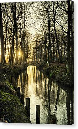 Sunset Over Stream Canvas Print