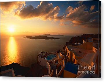 Sunset Over The Aegean Sea Canvas Print by Aiolos Greek Collections