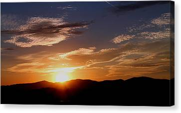 Canvas Print featuring the photograph Sunset Over The Blue Ridge by Candice Trimble