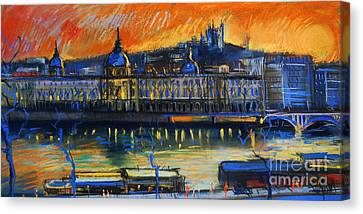 Sunset Over The City - Lyon France Canvas Print by Mona Edulesco