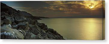 Sunset Over The Dead Sea, Arabah, Jordan Canvas Print by Panoramic Images