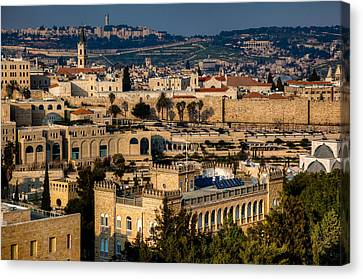 Canvas Print featuring the photograph Sunset Over The Holy City by Uri Baruch