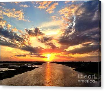 Sunset Over The Icw Canvas Print by Shelia Kempf