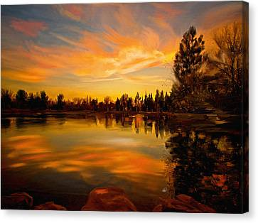 Sunset Over The Lake Canvas Print by Angela A Stanton