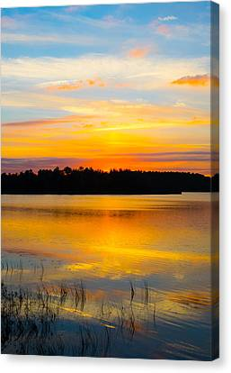 Sunset Over The Lake Canvas Print by Parker Cunningham