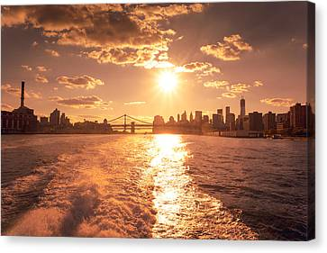 Sunset Over The New York City Skyline Canvas Print by Vivienne Gucwa