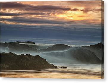 Sunset Over The Ocean Waves Canvas Print