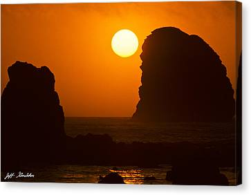Sunset Over The Pacific Ocean With Rock Stacks Canvas Print by Jeff Goulden