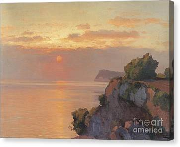Sunset Over The Sea Canvas Print by Celestial Images
