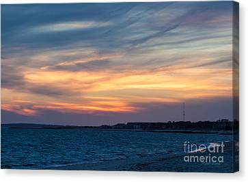 Sunset Over The Sound Canvas Print by Michelle Wiarda