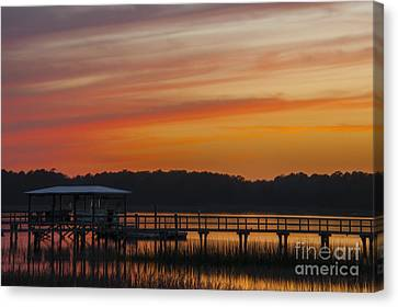 Canvas Print featuring the photograph Sunset Over The Wando River by Dale Powell