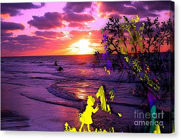 Trees Canvas Print - Sunset Over The Water While Children Play by Marvin Blaine