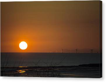 Sunset Over The Windfarm Canvas Print