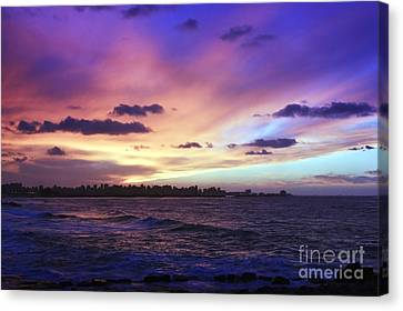 Canvas Print featuring the photograph Sunset Over Town And Sea Water by Mohamed Elkhamisy