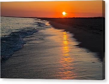 Sunset Over Vineyard Sound Canvas Print by Allan Morrison