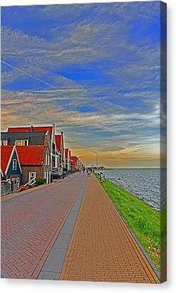 Sunset Over Volendam Canvas Print