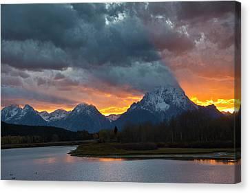 Moran Canvas Print - Sunset, Oxbow, Mount Moran, Grand Teton by Michel Hersen