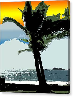 Sunset Palm Canvas Print by Karen Nicholson