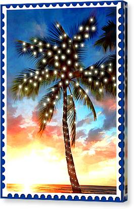 Sunset Palm Tree With Xmas Lights Stamp Canvas Print by Elaine Plesser