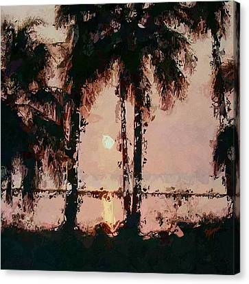 Palm Trees Canvas Print - Sunset Palms Abstract by Anthony Fishburne