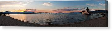 Canvas Print featuring the photograph Sunset Panorama At Lake Tahoe California by Paul Topp