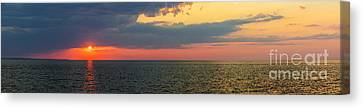 Sunset Panorama Over Atlantic Ocean Canvas Print by Elena Elisseeva